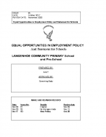 Equal Opportunities Guidelines Policy Statement for Schools